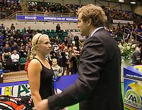 18-12-10, Tennis, Rotterdam, Reaal Tennis Masters 2010, Speaker Robert Reimering stelt vregen aan Michaella Krajicek