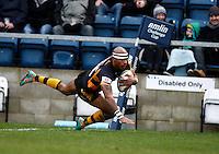Photo: Richard Lane/Richard Lane Photography. London Wasps v Rugby Mogliano. Amlin Challenge Cup. 12/01/2013. Wasps' Tom Varndell scores try three.