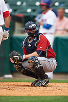 Columbus Clippers catcher Brett Hayes (11) looks to the dugout during a game against the Buffalo Bisons on July 19, 2015 at Coca-Cola Field in Buffalo, New York.  Buffalo defeated Columbus 4-3 in twelve innings.  (Mike Janes/Four Seam Images)