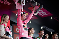 Maglia Rosa / overall leader Primoz Roglic (SVK/Jumbo-Visma) celebrating his overall lead on the podium after stage 4<br /> <br /> Stage 4: Orbetello to Frascati (228km)<br /> 102nd Giro d'Italia 2019<br /> <br /> ©kramon