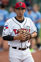 Lansing Lugnuts second baseman Yeltsin Gudino (5) warms up before the Midwest League baseball game against the Bowling Green Hot Rods on June 29, 2017 at Cooley Law School Stadium in Lansing, Michigan. Bowling Green defeated Lansing 11-9 in 10 innings. (Andrew Woolley/Four Seam Images)