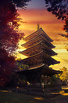 Goju-No-To, Gojunoto, five-storey pagoda in beautiful autumn sunset scenery with dramatic red sky. Shimo-Daigo part of Daigoji complex, Daigo-ji, Shingon Buddhist temple in Fushimi-ku, Kyoto, Japan 2017 Image © MaximImages, License at https://www.maximimages.com