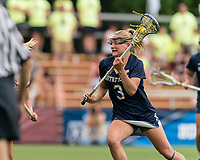 NEWTON, MA - MAY 22: Kasey Choma #3 of Notre Dame on the attack during NCAA Division I Women's Lacrosse Tournament quarterfinal round game between Notre Dame and Boston College at Newton Campus Lacrosse Field on May 22, 2021 in Newton, Massachusetts.