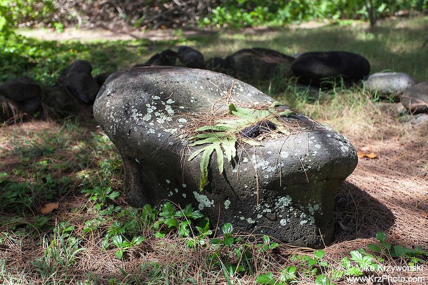 Sacred stone shrine in Waipio Valley, Big Island, Hawaii