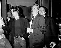 1987 FILE PHOTO - ARCHIVES -<br /> <br /> Quebec movie director Jean-Claude Lauzon , <br /> producer Pierre Gendron, <br /> <br /> 1987<br /> <br /> PHOTO :  Erin Comb - Toronto Star Archives - AQP