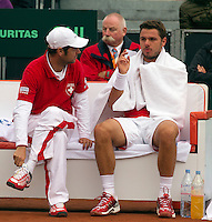 14-09-12, Netherlands, Amsterdam, Tennis, Daviscup Netherlands-Suiss,    Stanislas Wawrinka om the Suiss bench with captain Severin Luthi