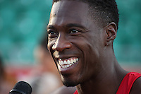 Tuesday 15th July 2014<br /> Pictured: Christian Malcolm<br /> RE: Head shot of the Welsh sprinter Christian Malcolm, smiling widely after competing in the 4x100m relay at the Welsh Athletics International in the Cardiff International Sports Stadium, South Wales, UK. His last race on home soil.