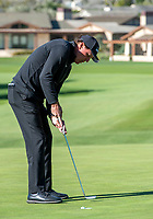 9th February 2020, Pebble Beach, Carmel, California, USA;   Phil Mickelson catches the outside of the cup on his second putt to save par at the 1st hole during the championship round of the AT&T Pro-Am on Sunday