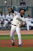Third baseman Rubendy Jaquez (11) of the Columbia Fireflies in a game against the Charleston RiverDogs on Tuesday, May 11, 2021, at Segra Park in Columbia, South Carolina. (Tom Priddy/Four Seam Images)