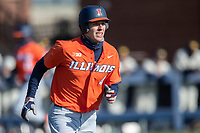 Illinois Fighting Illini outfielder Cam McDonald (4) runs to first base during the NCAA baseball game against the Michigan Wolverines on March 19, 2021 at Fisher Stadium in Ann Arbor, Michigan. Illinois won the game 7-4. (Andrew Woolley/Four Seam Images)