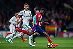 Thomas Teye Partey of Atletico de Madrid vies for the ball with Toni Kroos of Real Madrid during the La Liga 2017-18 match between Atletico de Madrid and Real Madrid at Wanda Metropolitano  on November 18 2017 in Madrid, Spain. Photo by Diego Gonzalez / Power Sport Images
