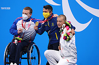 26th August 2021; Tokyo, Japan; Silver medalist GRANICHKA Andrei (RPC), gold medalist CRISPIN CORZO Nelson (COL), and bronze medalist JIA Hongguang (CHN) celebrate on the podium for the Swimming : Men's 200m Individual Medley - SM6 Final - Medal Ceremony on August 26, 2021 during the Tokyo 2020 Paralympic Games at the Tokyo Aquatics Centre in Tokyo, Japan.