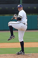 Ryan Flannery #39  of the Charleston RiverDogs pitching in a game against the Rome Braves on April 27, 2010  in Charleston, SC.