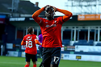 31st October 2020; Kenilworth Road, Luton, Bedfordshire, England; English Football League Championship Football, Luton Town versus Brentford; Pelly Ruddock of Luton Town holds his head as he misses a chance on goal