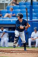 Lakeland Flying Tigers left fielder Luke Burch (20) at bat during a game against the Dunedin Blue Jays on July 31, 2018 at Dunedin Stadium in Dunedin, Florida.  Dunedin defeated Lakeland 8-0.  (Mike Janes/Four Seam Images)