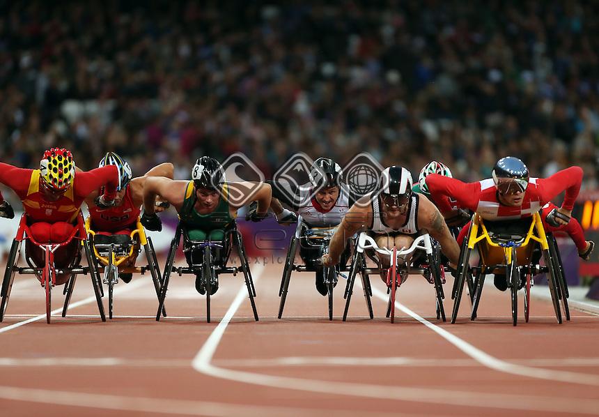 Natheniel Arkley, (AUS), Men's 5000m - T54 race.<br /> Athletics, Olympic Stadium, Olympic Park (Friday 31st Aug)<br /> Paralympics - Summer / London 2012<br /> London England 29 Aug - 9 Sept <br /> © Sport the library/Joseph Johnson