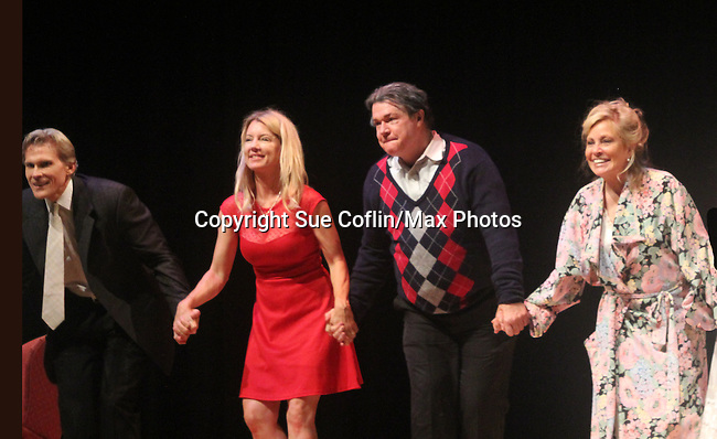 """Curtain Call: Grant Aleksander - Cynthia Watros - Michael O'Leary - Tina Sloan - Guiding Light's Michael O'Leary author of """"Breathing Under Dirt"""" - full play - had its world premier on August 13 and 14, 2016 at the Ella Fitzgerald Performing Arts Center, University of Maryland Eastern Shore, Princess Anne, Maryland  (Photo by Sue Coflin/Max Photos)"""