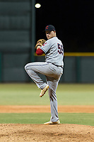 AZL Indians 2 relief pitcher Brendan Meyer (59) delivers a pitch during an Arizona League game against the AZL Cubs 2 at Sloan Park on August 2, 2018 in Mesa, Arizona. The AZL Indians 2 defeated the AZL Cubs 2 by a score of 9-8. (Zachary Lucy/Four Seam Images)