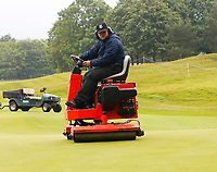 3rd July 2021; Mount Juliet Golf Club, Kilkenny, Ireland; Dubai Duty Free Irish Open Golf, Day Three; Rolling the 9th green before play