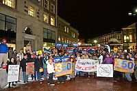 Keystone XL Pipeline vigil and protest, one of over 250 protest vigils organized by 350.org across the US, in Cambridge Massachusetts February 3, 2014