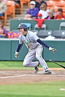 Notre Dame Fighting Irish third baseman Kyle Fiala (20) swings at a pitch during a game against the Clemson Tigers during game one of a double headers at Doug Kingsmore Stadium March 14, 2015 in Clemson, South Carolina. The Tigers defeated the Fighting Irish 6-1. (Tony Farlow/Four Seam Images)