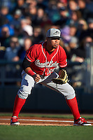 Great Lakes Loons first baseman Josmar Cordero (16) during a game against the Dayton Dragons on May 21, 2015 at Fifth Third Field in Dayton, Ohio.  Great Lakes defeated Dayton 4-3.  (Mike Janes/Four Seam Images)