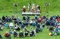 """BNPS.co.uk (01202 558833)<br /> Pic: Graham Hunt/BNPS<br /> <br /> Tess of the D'Urbervilles performed in Hardy country.<br /> <br /> For those who wanted a break from the football - Performance of Thomas Hardy's """"Tess of the D'Urbervilles"""" in front of an audience of 150 outdoors in Maumbury Rings, Dorchester in Dorset. Maumbury Rings is a Neolithic henge that is mentioned in the Hardy classic, 'The Mayor of Casterbridge'. It has been used as an amphitheatre since the time of the Romans and is one of the largest in the UK<br /> <br /> The show was put on by a touring theatre company based in Shropshire, Hotbuckle Productions, who haven't been on stage properly since February 2020. Actors Adrian Preater, Beth Organ, Joanna Purslow and Sam Elwin perform all the parts in the play."""