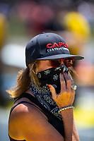 May 6, 2018; Commerce, GA, USA; Kay Torrence, mother of NHRA top fuel driver Steve Torrence during the Southern Nationals at Atlanta Dragway. Mandatory Credit: Mark J. Rebilas-USA TODAY Sports