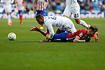 Real Madrid´s Danilo (L) and Atletico de Madrid´s Saul Niguez during 2015/16 La Liga match between Real Madrid and Atletico de Madrid at Santiago Bernabeu stadium in Madrid, Spain. February 27, 2016. (ALTERPHOTOS/Victor Blanco)