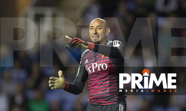 Goalkeeper Heurelho Gomes of Watford vduring the Carabao Cup Round 2 match between Reading and Watford at the Madejski Stadium, Reading, England on 29 August 2018. Photo by Andy Rowland