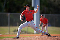 Ball State Cardinals relief pitcher Garett Simmons (41) during a game against the Mount St. Mary's Mountaineers on March 9, 2019 at North Charlotte Regional Park in Port Charlotte, Florida.  Ball State defeated Mount St. Mary's 12-9.  (Mike Janes/Four Seam Images)