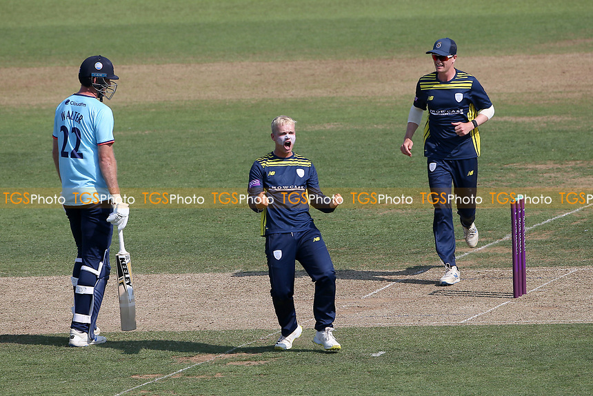 Felix Organ of Hampshire celebrates taking the wicket of Tom Westley during Hampshire Hawks vs Essex Eagles, Royal London One-Day Cup Cricket at The Ageas Bowl on 22nd July 2021