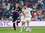 Marco Asensio Willemsen (R) of Real Madrid fights for the ball with Ruben Salvador Perez del Marmol, Ruben Perez J, of CD Leganes during the La Liga 2018-19 match between Real Madrid and CD Leganes at Estadio Santiago Bernabeu on September 01 2018 in Madrid, Spain. Photo by Diego Souto / Power Sport Images