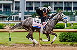 April 28, 2021: Crazy Beautiful, trained by trainer Kenneth McPeek, exercises in preparation for the Kentucky Oaks at Churchill Downs on April 29, 2021 in Louisville, Kentucky. Scott Serio/Eclipse Sportswire/CSM