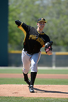Pittsburgh Pirates pitcher Dovydas Neverauskas (82) during a minor league spring training game against the Toronto Blue Jays on March 21, 2015 at Pirate City in Bradenton, Florida.  (Mike Janes/Four Seam Images)