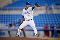 Dunedin Blue Jays relief pitcher Jared Carkuff delivers a pitch during a game against the Clearwater Threshers on April 8, 2017 at Florida Auto Exchange Stadium in Dunedin, Florida.  Dunedin defeated Clearwater 12-6.  (Mike Janes/Four Seam Images)