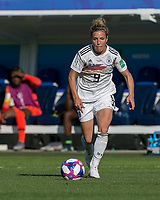 GRENOBLE, FRANCE - JUNE 22: Svenja Huth #9 of the German National Team dribbles at midfield during a game between Nigeria and Germany at Stade des Alpes on June 22, 2019 in Grenoble, France.