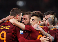 Calcio, Serie A: Roma vs Fiorentina. Roma, stadio Olimpico, 7 febbraio 2017.<br /> Roma's Edin Dzeko, left, celebrates with teammates, from second left, Daniele De Rossi, Stephan El Shaarawy and Radja Nainggolan, after scoring during the Italian Serie A soccer match between Roma and Fiorentina at Rome's Olympic stadium, 7 February 2017.<br /> UPDATE IMAGES PRESS/Riccardo De Luca