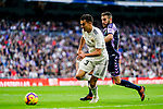 Jesus Vallejo Lazaro of Real Madrid (L) competes for the ball with Antonio Jesus Regal Anguilo of Real Valladolid during the La Liga 2018-19 match between Real Madrid and Real Valladolid at Estadio Santiago Bernabeu on November 03 2018 in Madrid, Spain. Photo by Diego Souto / Power Sport Images