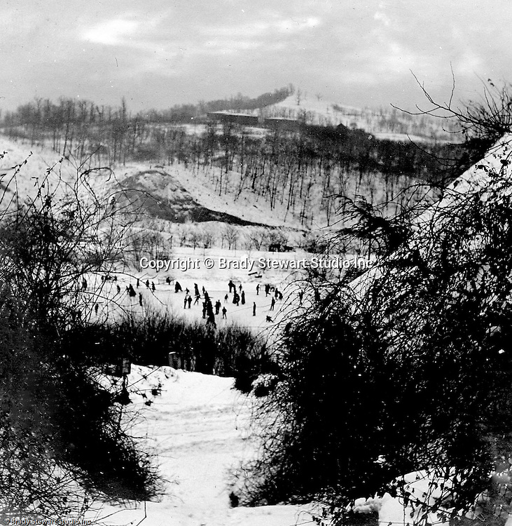 Highland Park: View of Pittsburghers skating on a frozen Lake Carnegie in  Highland Park.  The area was opened in 1894 for boating and fishing in the summer and ice skating in the winter.  The Stewart family visited the park often since they lived nearby on Wellesley Avenue in Highland Park.