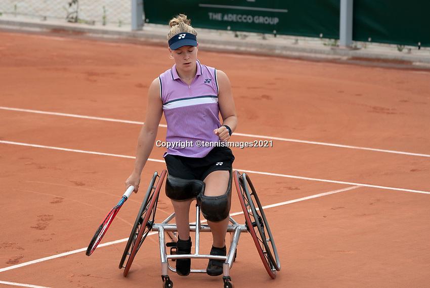 Paris, France, 5 june 2021, Tennis, French Open, Roland Garros, Womans Wheelchair semifinal : Dide de Groot (NED) <br /> Photo: tennisimages.com