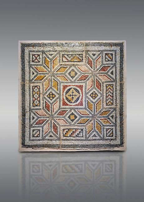 Roman mosaics - Geometric Mosaic. House of Okeanos, Ancient Zeugama, 2nd - 3rd century AD . Zeugma Mosaic Museum, Gaziantep, Turkey.