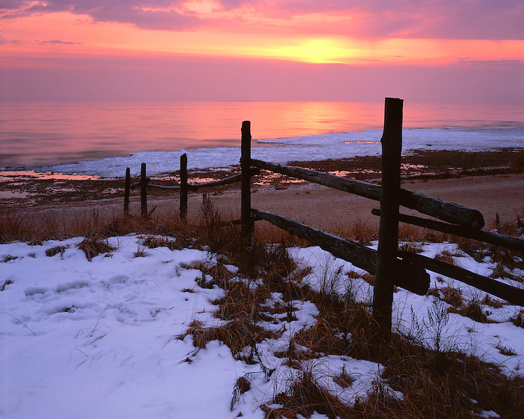 Morning winter light on the shore of Lake Michigan at Europe Bay County Park; Door County, WI