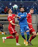 02.11.2020, PreZero-Arena, Sinsheim, GER, 1.FBL, TSG 1899 Hoffenheim vs 1.FC Union Berlin , <br /> DFL  regulations prohibit any use of photographs as image sequences and/or quasi-video.<br /> im Bild<br /> Florian Hübner (Union Berlin), Munas Dabbur (Hoffenheim)<br /> <br /> Foto © PIX-Sportfotos *** Foto ist honorarpflichtig! *** Auf Anfrage in hoeherer Qualitaet/Aufloesung. Belegexemplar erbeten. Veroeffentlichung ausschliesslich fuer journalistisch-publizistische Zwecke. For editorial use only. DFL regulations prohibit any use of photographs as image sequences and/or quasi-video.
