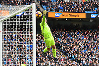 Manchester City's goalkeeper Willy Caballero looks-on as Swansea City's Jack Cork's shot hits the post during the Premier League match between Manchester City and Swansea City at the Etihad Stadium, Manchester, England. Sunday 05 February 2017