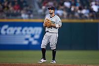 Gwinnett Stripers second baseman Sean Kazmar Jr. (4) on defense against the Charlotte Knights at Truist Field on July 17, 2021 in Charlotte, North Carolina. (Brian Westerholt/Four Seam Images)