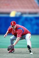 Scott Rolen of the Philadelphia Philles participates in a Major League Baseball game at Dodger Stadium during the 1998 season in Los Angeles, California. (Larry Goren/Four Seam Images)