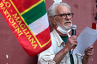 """Sergio Bartolini, son of Bandiera Rossa Partizan Franco.<br /> <br /> Rome, Italy. 04th June, 2021. Today, to mark the 77th Anniversary of the Liberation of Rome from nazi-fascism (Liberazione di Roma – 04-05 June 1944), the ANPI branch Trullo-Magliana """"Franco Bartolini"""" (Associazione Nazionale Partigiani d'Italia, National Association of Italian Partizans Members of the Italian Resistance in WWII) held a rally outside the Garbatella's Palladium (2.) where a golden plaque remembers the Roman Communist Partizan of """"Bandiera Rossa"""" Franco Bartolini and his poem """"Libertא"""" (Freedom, 3.). This story begins with photos taken at the Ponte di Ferro (Iron Bridge, Ponte dell'Industria) where 10 Women were massacred by the nazi-fascists on the 7th April, 1944 due to have assaulted a warehouse - linked to the occupation armies - to collect width and bread for the starved population. To remember this """"forgotten"""" massacre, Partizan Franco Bartolini fought to have a Memorial Stone placed at the beginning of the Bridge by the Council of which he took care of it for the rest of his life (4.).<br /> For full Bio of F. Bartolini (Eng & Ita) please refer to the PDF at the beginning of this story.<br /> <br /> Footnotes & Links<br /> 1. http://anpitrullo.blogspot.com/<br /> 2. (Source, Wikipedia.org ENG) http://tiny.cc/6fm3nz<br /> 3. Libertà (Freedom), Poem by Partizan Franco Bartolini<br /> https://lucaneve.photoshelter.com/gallery-image/24-03-2021-77th-Anniversary-Of-The-nazi-fascist-Fosse-Ardeatine-Massacre/G0000Ff6GDd9tUJc/I0000JHqxDxrcczo/C0000GPpTqAGd2Gg<br /> 4. (Source, Wikipedia.org ITA) https://it.wikipedia.org/wiki/Eccidio_del_ponte_dell%27Industria<br /> Some Stories Related To: Resistenza, Partigiani, the Liberazione from nazi-fascism in Italy;<br /> 04.06.18 Centocelle: Gold Medal For Antifascist Resistance https://bit.ly/2AVgnHV<br /> 25.04.20 I Partigiani: http://bit.do/fMDqX<br /> 24.03.21 77th Anniversary Of The nazi-fascist Fosse Ardeatine Massacre http://bit.do/fMDq"""