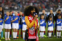 JACKSONVILLE, FL - NOVEMBER 10: National anthem during a game between Costa Rica and USWNT at TIAA Bank Field on November 10, 2019 in Jacksonville, Florida.