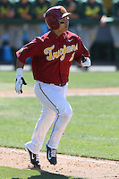 Jeremy Martinez (2) of the Southern California Trojans runs to first base during a game against the Oregon Ducks at Dedeaux Field on April 18, 2015 in Los Angeles, California. Oregon defeated Southern California, 15-4. (Larry Goren/Four Seam Images)
